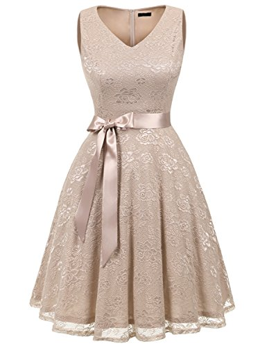 IVNIS RS90025 Damen Ärmellos Vintage Spitzen Abendkleider Cocktail Party Floral Kleid Champagne XL