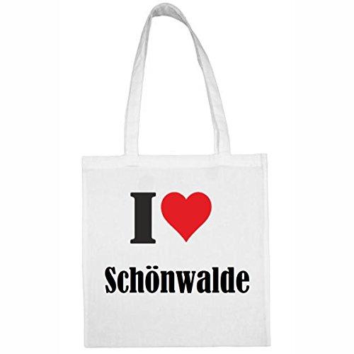 Tasche I Love Schönwalde Größe 38x42 Farbe Weiss Druck Schwarz