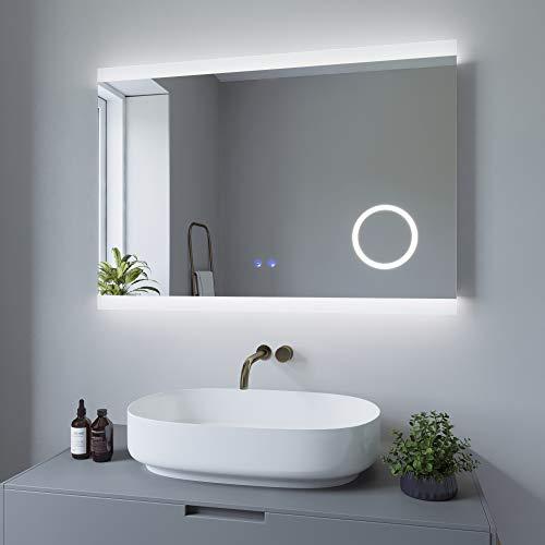 AQUABATOS 100x70 cm Badspiegel mit Beleuchtung Schminkspiegel Badezimmerspiegel Lichtspiegel LED Wandspiegel. Touch-Schalter Dimmbar + Kaltweiß 6400K + Warmweiß 3000K + Spiegelheizung + IP44 + CE
