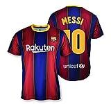 Camiseta Replica FC. Barcelona 1ª EQ Temporada 2020-21 - Producto con Licencia - Dorsal 10 Messi- 100% Poliéster - Talla M