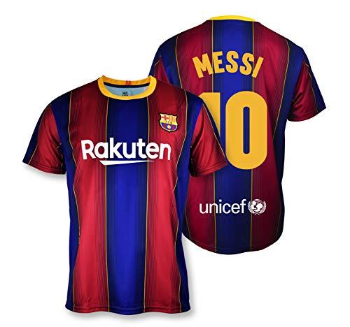 Camiseta Replica FC. Barcelona 1ª EQ Temporada 2020-21 - Producto con Licencia - Dorsal 10 Messi- 100% Poliéster - Talla L