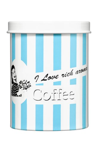 Premier Housewares Candy Stripe Kaffeedose blau, Galvanisierter Stahl, 11x11x14