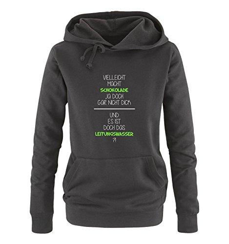 Comedy Shirts – Peut-être pouvait -on Faire du Chocolat Pas épais – Eau de Toilette – Sweat à Capuche pour Femme – Capuche – Poche Kangourou à Manches Longues - Noir - XXL