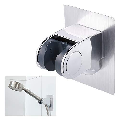 JIZZU Universal Handbrause Halterung, Einstellbar Duschkopfhalterung ohne Bohren, Dusche Ersatzteile Brausehalter Duschhalterung für Badezimmerglas, Wand