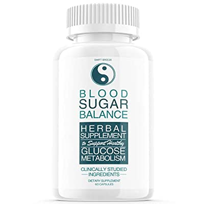 Blood Sugar Balance Support Supplement, Blood Sugar Herbal Advanced Formula Pills Capsules - Supports Diabetic High Blood Pressure, Reduced Inflammation - Improved Blood & Immune Health (60 Capsules) by Swift Breeze Fitness