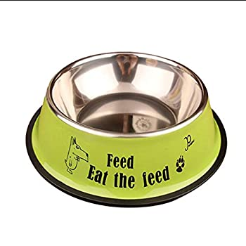 Chiens Gamelles et distributeurs Bols de chien d'acier inoxydable avec le bol de nourriture classique antidérapant de base en caoutchouc, bol de l'eau pour tous les animaux rouille résistants Chiens G