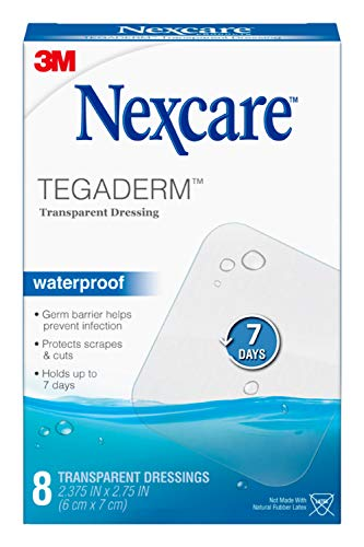 Nexcare Tegaderm Waterproof Transparent Dressing, Film, The #1 Hospital Brand, 8 Ct, 2-3/8 In X 2-3/4 In