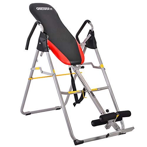OneTwoFit Table Pliante Robuste de Thérapie de d'Inversion, Machine D'étirement avec Hauteur Réglable pour Le Soulagement des Douleurs Dorsales OT079