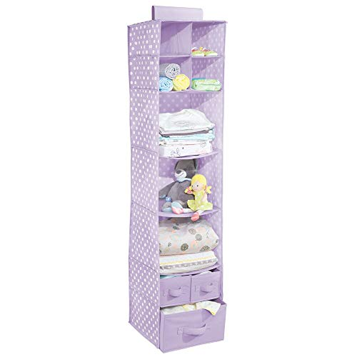 mDesign Soft Fabric Over Closet Rod Hanging Storage Organizer with 7 Shelves and 3 Removable Drawers for Child/Kids Room or Nursery - Polka Dot Print - Light Purple/White