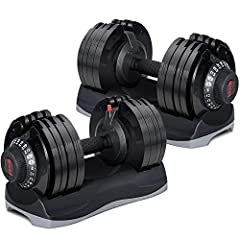 Each dumbbell adjust from 11 lbs to 71.5 lbs in 5.5 lb increments. With the unique dial system, you can rapidly switch from one exercise to the next. Combines 12 sets of weights into one offering versatile workout for your whole body. With one Adjust...