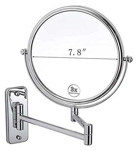 Espejo de Maquillaje Espejo, baño, montado en la Pared, tocador, Espejo montado en la Pared, Espejo de tocador montado en la Pared ampliado de 7.8 Pulgadas con Espejos de Doble Cara de Aumento 3X pa