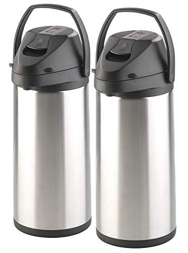 Rosenstein & Söhne Isolierkanne Edelstahl: 2er-Set doppelwandige Vakuum-Isolierkannen mit Pumpsystem, je 5 l (Thermo-Kannen)
