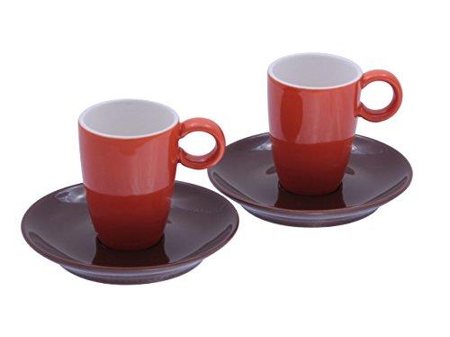 Espressotasse in Vereinsfarben orange/braun Set