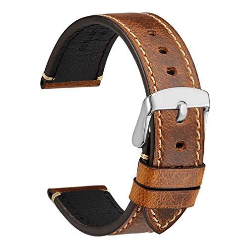 WOCCI 22mm Saddle Style Vintage Correa de Reloj de Cuero con Hebilla Plateada, Bandas de Repuesto (Dorado Marrón)