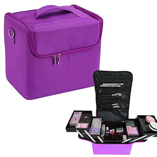 Maletin Maquillaje Profesional 2 cajones Maleta Peluqueria Estetica,Púrpura