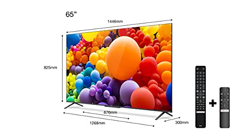 TCL 65C721 QLED Fernseher 65 Zoll (164 cm) Smart TV (4K UHD, HDR 10+, Dolby Vision Atmos, Motion Clarity, Android 11, ONKYO-Lautsprecher, Google Duo, Google Assistant&Alexa, rahmenloses Metalldesign)