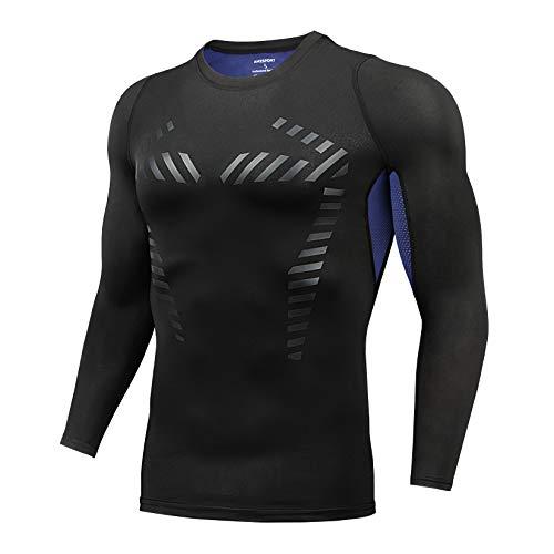 AMZSPORT Maglia Compressione UomoT-Shirt Sportiva a Manica Lunga Allenamento Running Top, Blu XL
