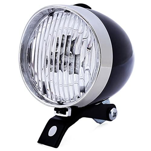 URUNI Luz del Faro de la Bicicleta clásica, luz de la Bicicleta de la Vendimia Retro, la luz Delantera de la Noche de la Noche, la lámpara de la luz Delantera de la Bicicleta (Color : Black)