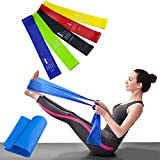 Bandas Elásticas Resistencia Ejercicio Set de 6 - Látex Natural Fitness Bandas para Ejercicio y Terapia Física, Pilates, Yoga, Rehab, Mejorar la Movilidad y la Fuerza