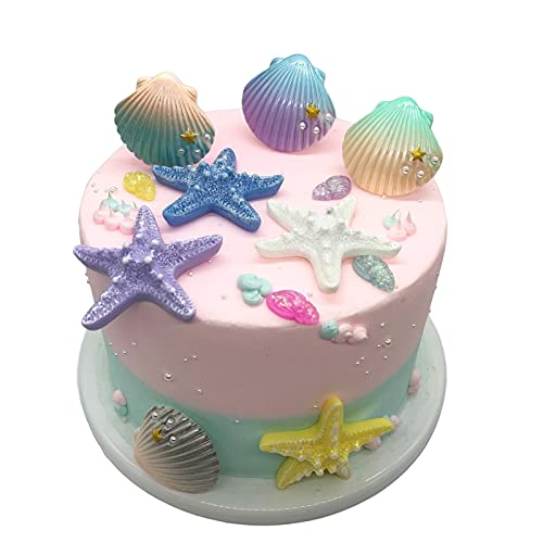12pcs Sea Creatures Sea Shells Star Conch Cake Topper for Birthday Party Baby Shower Wedding Cake Decorations