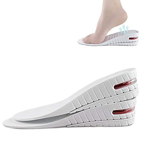 2 capas extraíbles plantillas de zapatos para aumentar la altura, plantillas ortopédicas de burbujas de aire de longitud completa hasta 3-4,5 cm de elevación, desodorante transpirable (L)