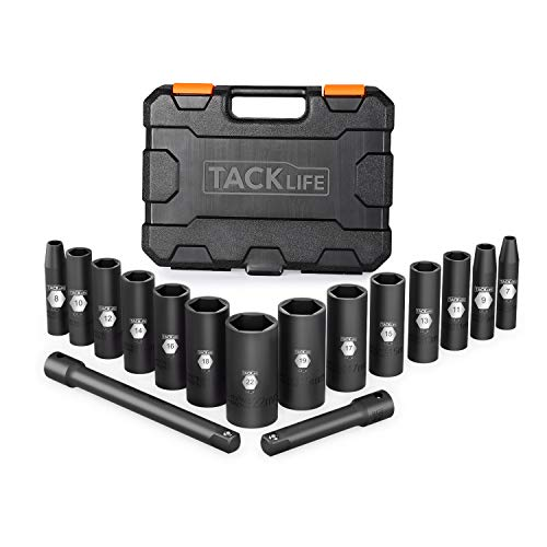 Tacklife 3/8-Inch Drive Deep Impact Socket Set, Metric,CR-V Steel, 6-Point, 7 mm - 22 mm 16pcs, 3' and 6' extensions -HIS4A