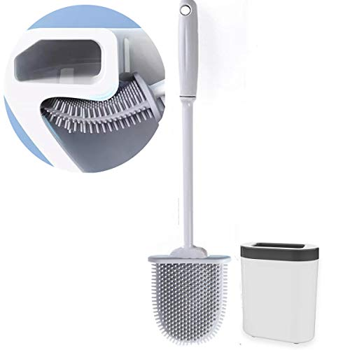 Toilet Brush and Holder Set for Bathroom, Deep Cleaning Silicone Toilet Bowl Brush with Non-Slip Long Plastic Handle, Bendable Brush Head to Clean Toilet Corner Easily, Save Space (White)