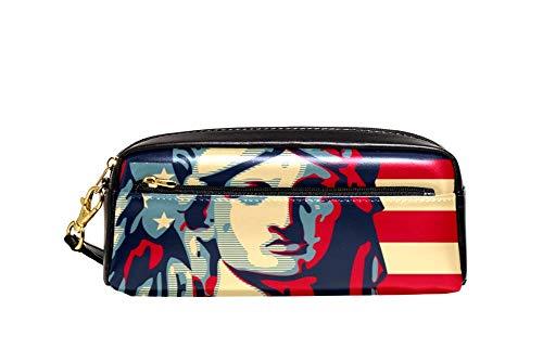 Estatua de la Libertad USA bandera lápiz caso pu cuero papelería bolsa caso escolar caja de lápiz de las mujeres bolso cosmético