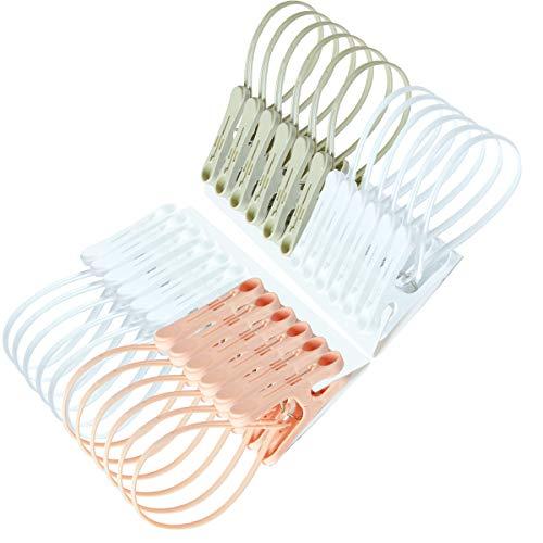 洗濯はさみ 紐付き 携帯 靴下はさみ 洗濯クリップ 洗濯バサミ 洗濯ばさみ 携帯畳みハンガー 防風クリップ 洗濯ピンチ 洗濯 物干し24個パック3色