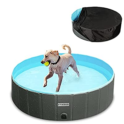 FOXBUS Foldable Dog Pool - Portable Hard Plasti...