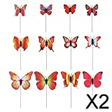 Gazechimp 2x12 Stück Gartenpflanzer Pflanzgefäß Schmetterlings Pfosten Rote Rasendekoration Ornamente
