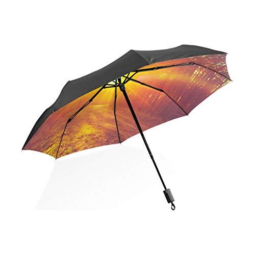 Paraguas para Hombre Precioso Amanecer Mañana Rojo Portátil Compacto Paraguas Plegable Anti Protección Antiviento A Prueba de Viento Al Aire Libre Viajes Mujeres Niños Niño Paraguas