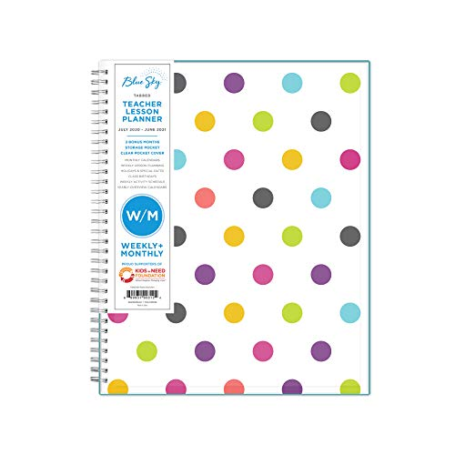"Blue Sky 2020-2021 Academic Year Teachers Weekly & Monthly Lesson Planner, CYO Cover, 8.5"" x 11"", Dots"