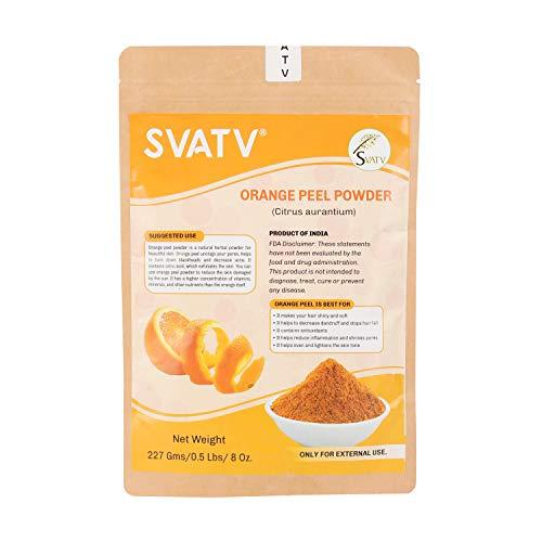 SVATV - Natürliches Gesichts- und Körper-Puder | Hergestellt in Indien | Für Haar- und Hautpflege I Nur zur äußeren Anwendung (Orangenschale, 227 g)