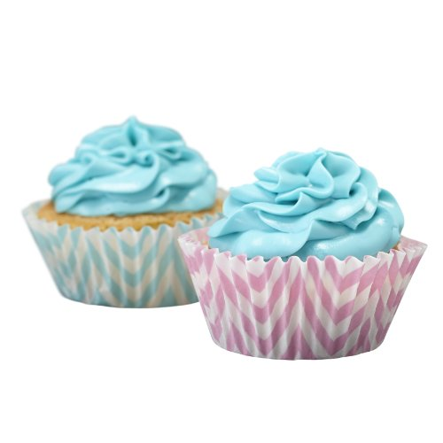 Ginger Ray Pastel Roze & Blue Cupcake Cases - Chevron Gooddelijk