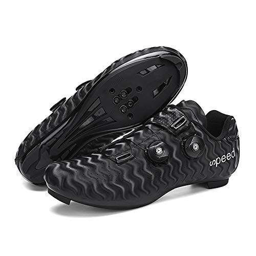 Tmpty Road Bike Cycling Shoes with lock Double rotating buckle Nylon fiber for Men Lock Pedal Bike Shoes (Color : Black, Size : 9)