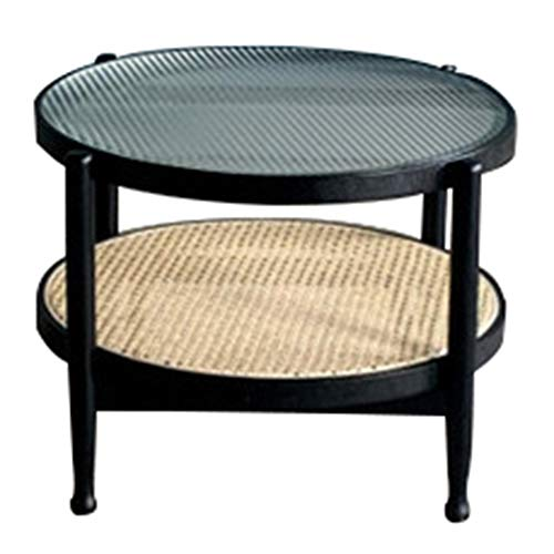 ZHIWUJIA Mesa de centro de vidrio con estante de almacenamiento Estructura de madera maciza Dos niveles Mesilla de noche La capa inferior está hecha de ratán natural. 52x5(Size:86x86x45cm,Color:negro)