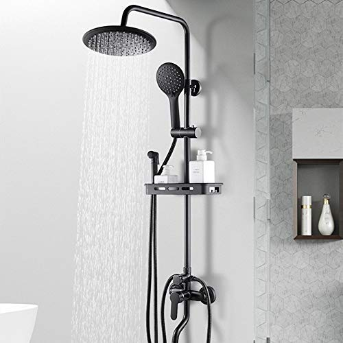 PYROJEWEL Negro juego de ducha Inicio cobre organismo europeo de ducha Baño Ducha Termostato de ducha hermoso determinado práctica (Color : Round)