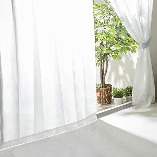 アイリスプラザ レースカーテン UVカット プライバシーカット 外から見えにくい 断熱 保温 2枚組 洗える 洗濯機対応 幅100cm×丈208cm ホワイト