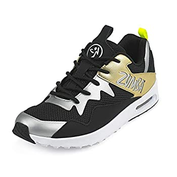 Zumba Athletic Air Classic Gym Fitness Sneakers Dance Workout Shoes for Women Gold/Black 13
