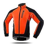 SFITVE Chaqueta de Ciclismo Hombre,Respirable Impermeable Ciclismo Chaqueta Bicicleta Jackets,Reflectantes Polar Térmico Abrigo de Bicicleta MTB Invierno(Size:M,Color:Naranja)