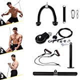 VWMYQ 3 in 1 LAT and Lift Pulley System Gym, 3M/9.9ft Adjustable Cable Machine, with Heavy Duty Tricep Rope, Non-Slip Pull Down Handles, Pull Bar