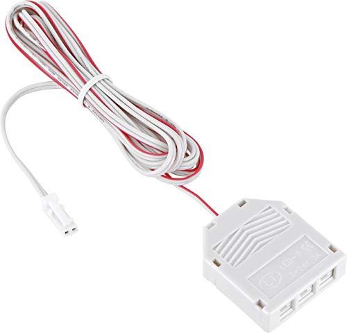 12V MINI-AMP - 2m Kabel mit 3-Fach Verteiler + Stecker - Verbindungskabel Anschlusskabel - weiß