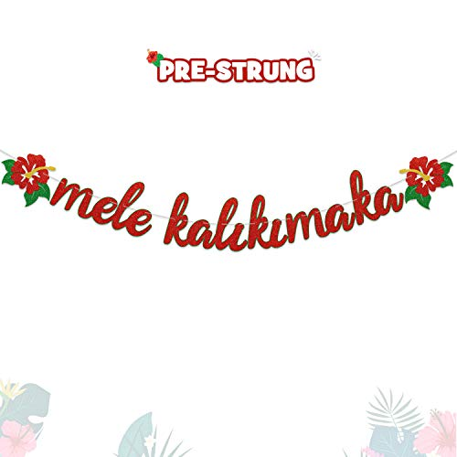 Christmas Banner Mele Kalikimaka Glittering Banner With Hibiscus Flowers For Hawaiian Christmas Winter Holiday Party Decorations Supplies Pre Strung And Ready To Hang