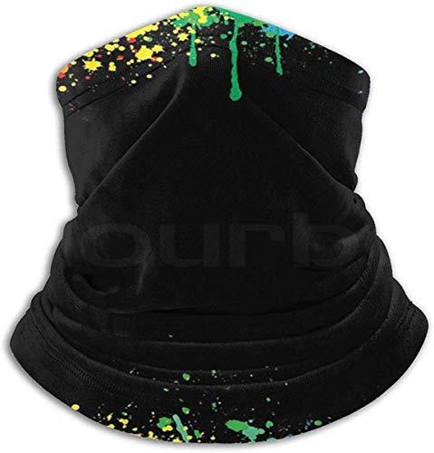 Unisex Colorido Salpicaduras de tinta brillante Invierno Fleece Cuello Calentador Polainas Banda para el cabello Tubo para clima frío Mascarilla Bufanda térmica Cuello al aire libre Protección UV Cubierta del partido Negro