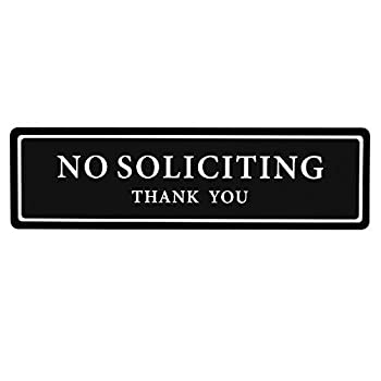 Premium No Soliciting Thank You Sign for House / Office Self Adhesive Modern Design Door Sign 2.35  x 8.25 Home Decor Accessories Door Or Wall White Big Letters on Black Plate  1 Pack