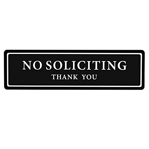 """Premium No Soliciting Thank You Sign for House / Office, Self Adhesive Modern Design Door Sign 2.35"""" x 8.25""""Home Decor Accessories Door Or Wall, White Big Letters on Black Plate"""