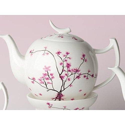 TeaLogic Teekanne Cherry Blossom Weiß mit Kirschblüten 0,4 Liter Bone China