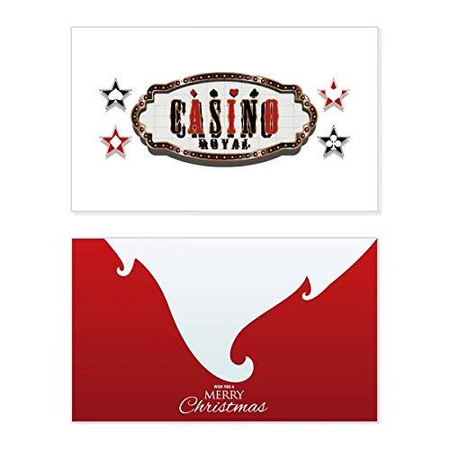 Schwarz-rotes Casino-Schilder-Muster, Weihnachtskarte, Vintage-Nachricht