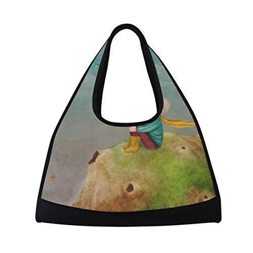 NISENASU Sporttasche,Kleiner Prinz Rose On Planet Beautiful,Neue Sport Reisetaschen Tennisschläger Rucksack Badminton Kurze Reisetaschen tragbare Umhängetasche (20×6.7×18.5 inch)